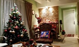 Cozy  house. The  magic  of  Christmas  atmosphere Stock Photo