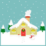 Cozy House in Winter Season Illustration Royalty Free Stock Photography