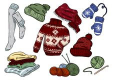 Cozy hygge doodles. Cute clothes casual stickers. Plaids, yarn, knitting, cap, hat, sweater, stockings, mittens. Cozy hygge doodles. Cute clothes casual stickers royalty free illustration