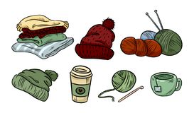 Cozy hygge sticker doodles. Cute stickers. Plaids, yarn, coffee. knitting, cap, hat. Cozy hygge doodles. Cute stickers stock illustration