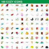 100 cozy icons set, cartoon style. 100 cozy icons set in cartoon style for any design vector illustration Royalty Free Stock Photo