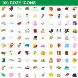 100 cozy icons set, cartoon style. 100 cozy icons set in cartoon style for any design illustration vector illustration