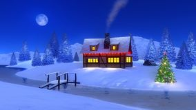 Illuminated cabin in mountain at Christmas night Stock Images