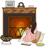Cozy illustration. The girl with a cat by the fireplace. Sweet girl sitting by the fireplace with a cup in his hands. Vector illustration Royalty Free Stock Images