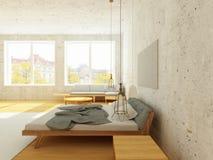 Cozy interior of bedroom in Scandinavian Style in sunlight. Modern bedroom in Scandinavian style in sunlight with hardwood floor and vintage stucco and brick Stock Photo