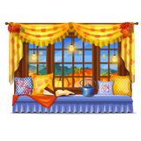 Cozy interior home window. Evening view from the window of a ripe pumpkin, spruce forest. Reading books at home. Soft. Pillows on the windowsill and favorite royalty free illustration