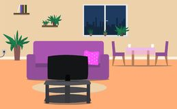 Living room and dining room interior room with furniture. Vector illustration royalty free illustration