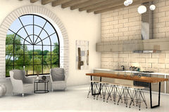 Cozy kitchen with big round window and big table Royalty Free Stock Photos