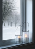 Cozy lanterns and winter landscape