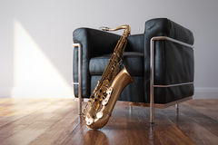 Cozy Leather Arnchair With Saxophone In Classic Bright Room Stock Photography
