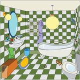 Cozy little bathroom. Stylized cartoon illustration of a bathroom interior with green tiles,  image Royalty Free Stock Photo