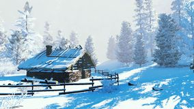 Cozy little cabin in a snowy winter forest. Cozy little hut among snowy fir trees at sunny winter day. Decorative 3D illustration was done from my own 3D vector illustration