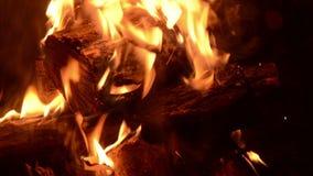 Cozy little fire burning closeup stock footage