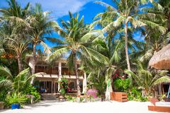 Cozy little hotel on a tropical exotic resort at Stock Photos