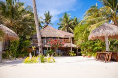 Cozy little hotel on a tropical exotic resort at Royalty Free Stock Images