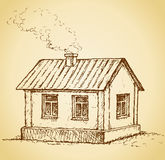 Cozy little house. Vector sketch Stock Image