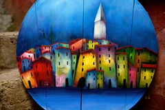 Cozy little houses on oil painting Royalty Free Stock Photos