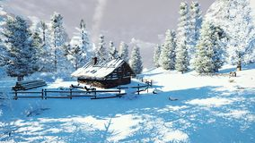 Cozy little hut among snowy fir trees. Daytime winter scenery. Cozy little cabin among snowy spruce forest high in mountains. Decorative 3D illustration was done royalty free illustration
