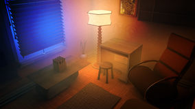 Cozy Living Room Corner Night Stock Photography