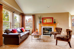 Cozy living room with fireplace Stock Photo