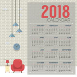 2018 Cozy Living Room Flat Design Printable Calendar Starts Sunday Royalty Free Stock Photo
