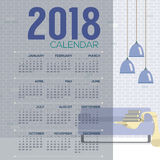 2018 Cozy Living Room Flat Design Printable Calendar Starts Sunday Stock Photo