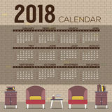 2018 Cozy Living Room Flat Design Printable Calendar Starts Sunday Royalty Free Stock Images