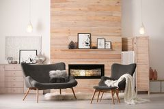 Cozy living room interior with comfortable furniture royalty free stock image