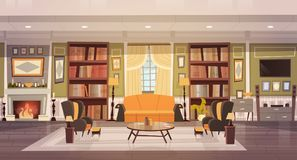 Cozy Living Room Interior Design With Furniture, Sofa, Table Armchairs, Fireplace Bookcase, Horizontal Banner. Flat Vector Illustration Royalty Free Stock Image
