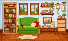 Cozy living room interior. Vector illustration. Vector cozy living room interior with a sofa and a bookcase Stock Photos