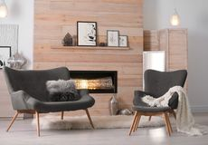 Free Cozy Living Room Interior With Comfortable Furniture Stock Photography - 125266282