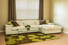 Cozy living room in olive green colors. Cozy living room, modern white leather sofa, glass table, modern rug with green-brown pattern, curtains, pillows Stock Images