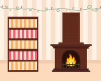 Cozy living room in pastel colors with a lighted fireplace. Striped wallpaper on the walls. Multicolored garland on the wall. Large brown fireplace. Vector Royalty Free Stock Image
