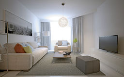 Cozy living room in private house. 3D render stock illustration