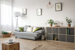 Cozy living room with sofa stock images