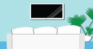 Cozy Living Room with TV, sofa and plant on a blue background in UHD. Cozy Living Room Modern Design with TV, white  sofa and plant on a blue background. Flat stock video footage