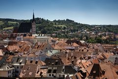 The cozy medieval Czech suburbs in summer Stock Photography