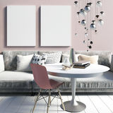 Cozy modern interior living room in a dirty pink. A relaxation a. Rea. Poster mockup. 3d illustration Royalty Free Stock Photography