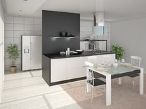 Cozy modern kitchen. Royalty Free Stock Image