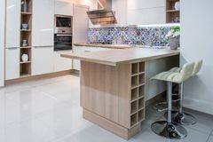 Cozy modern kitchen interior. With furniture stock image