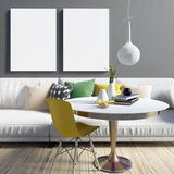 Cozy modern living room interior in contrasting colours.  Relaxa. Tion area. Poster mockup. 3d illustration Stock Images