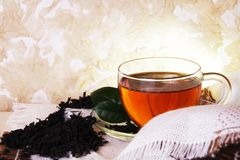 Cozy Morning Tea. In Glass Cup with Dried Leaves Stock Photography
