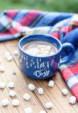 Cozy mug of cocoa on an autumn day. Cozy mug of cocoa on a cool fall day with mini marshmallows laying on barn wood table stock images