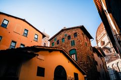 Cozy narrow street with old historic buildings. In florence, italy stock photos