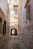 Cozy narrow street in the Old Town of Dubrovnik Stock Image