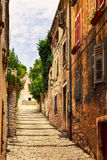 Cozy and narrow streets in Pula`s medieval old town Royalty Free Stock Image
