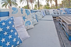 Cozy nautical style sofa outdoors Stock Image