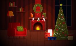 Cozy New Year Christmas flat cartoon interior concept vector style.Indoor view with burning fireplace and new year socks. Cozy New Year Christmas flat cartoon royalty free illustration