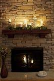 Cozy Nighttime Fireplace Stock Image