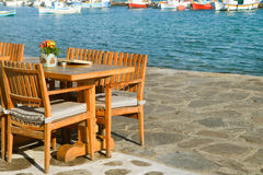 Cozy nook by the sea. Greece Royalty Free Stock Photo